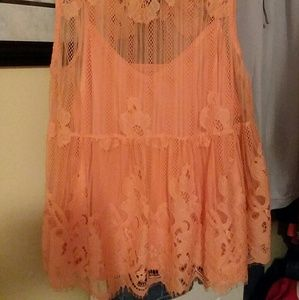 New coral lace tanktop